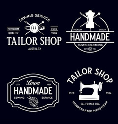 Set vintage sewing and tailor labels badges vector