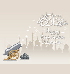 Silhouette mosque and cannon vector