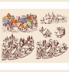 small city towns urban house building set vector image