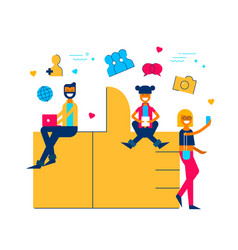 social media like icon concept with people online vector image