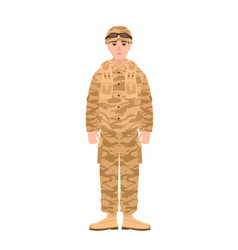 Soldier of usa armed forces wearing combat uniform vector