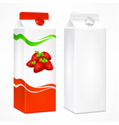 strawberry juice package vector image vector image