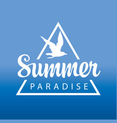 Travel banner or logo with gull summer paradise vector