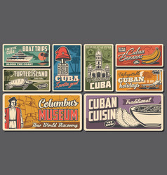 travel to cuba retro banners cuban tourism vector image