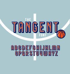 Vintage colorful tangent sport font vector