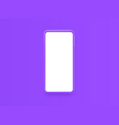 violet smartphone with blank violet screen vector image