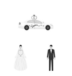 wedding and attributes monochrome icons in set vector image