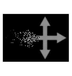 White fractured dot halftone quadro arrows icon vector