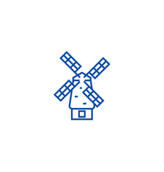 windmill line icon concept windmill flat vector image