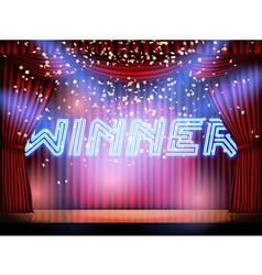 winner lettering stage vector image