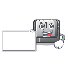 with board button m on a keyboard mascot vector image