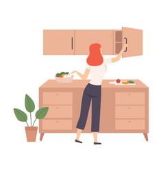 woman open top drawer in kitchen vector image