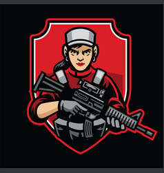 woman soldier mascot hold assault rifle vector image