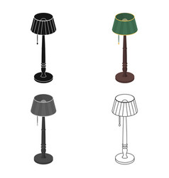 wooden floor lamp icon in cartoon style isolated vector image
