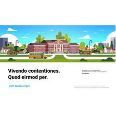 yellow bus in front school building exterior vector image