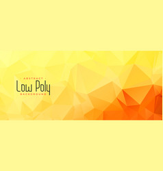 Yellow orange color low poly abstract banner vector