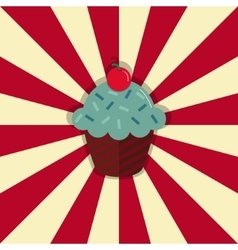 Cupcake with cherry on retro style circle ray vector image