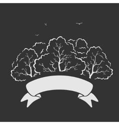 Emblem Trees and Ribbon vector image