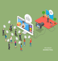 Influencer marketing flat isometric concept vector