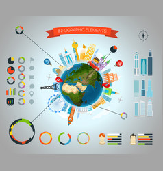 infographic elements template statistic vector image