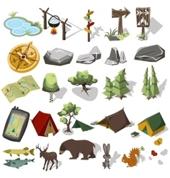 Isometric 3d forest hiking elements vector image vector image