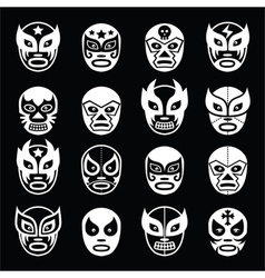Lucha libre luchador mexican wrestling white mask vector