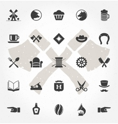 Retro Hand Drawn Objects and Icons vector image vector image