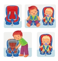 Set icons of small children in car seats vector image