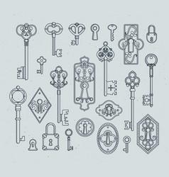 vintage keys and padlocks for medieval doors hand vector image
