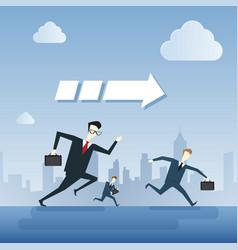 business people group run team leader under arrow vector image