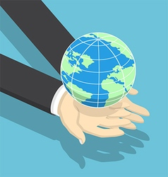 Isometric businessman holding earth globe vector image vector image