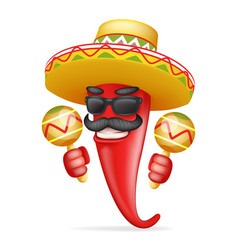 Latin maraca mexican hat red cool hot chili pepper vector