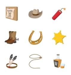 Wild West of America icons set cartoon style vector image