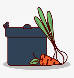 Garlic and carrot next to pot cook vector