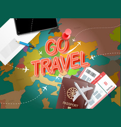go travel vacation concept with accessories vector image vector image