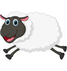 happy sheep jumping vector image