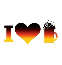I love beer logo for Oktoberfest German flag Sign vector image vector image