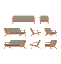 Set of retro green divan and armchair vector image vector image