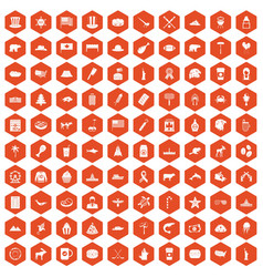 100 north america icons hexagon orange vector
