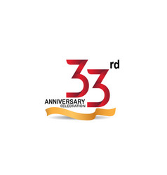 33 anniversary design logotype red color vector