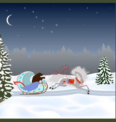 a bear drives a horse in a sleigh vector image