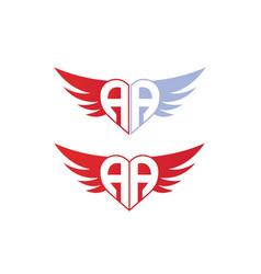 Aa valentine love alphabet logo design concept vector