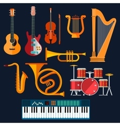 Acoustic and electric musical instruments icons vector