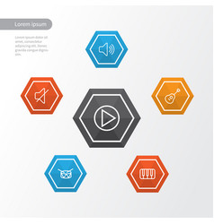 Audio outline icons set collection of keys vector