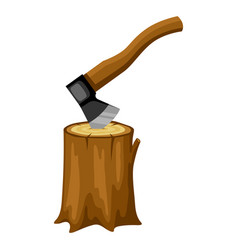 Axe and wood stump for forestry and vector