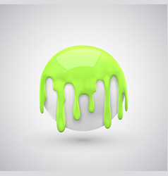 Ball with paint drops green vector