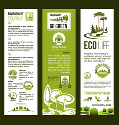 Banners for eco nature environment company vector