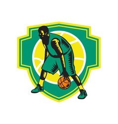 Basketball Player Dribbling Ball Woodcut Shield vector