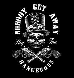 black and white shirt design with a skull and guns vector image