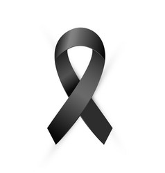 Black awareness ribbon terrorism death mourning vector